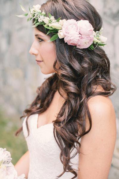 Asymmetrical Floral Crown Wedding hairstyles