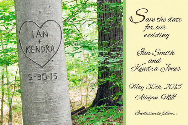 25 creative save the date ideas bridalguide tree carvings junglespirit Choice Image