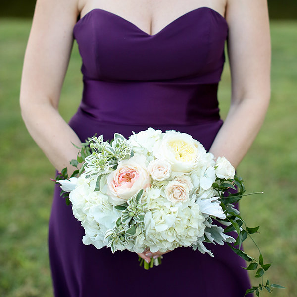 Woman holding a bridal bouquet