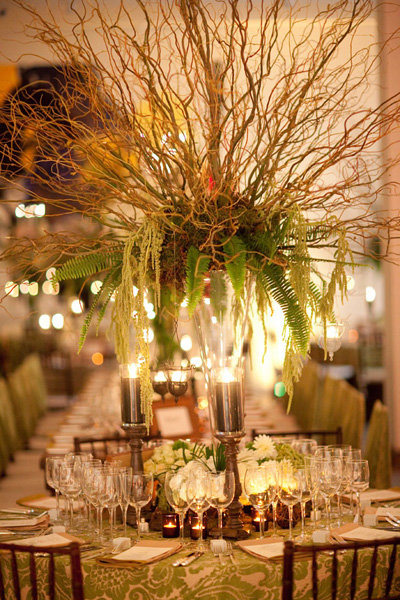 Willow and fern centerpieces bridalguide