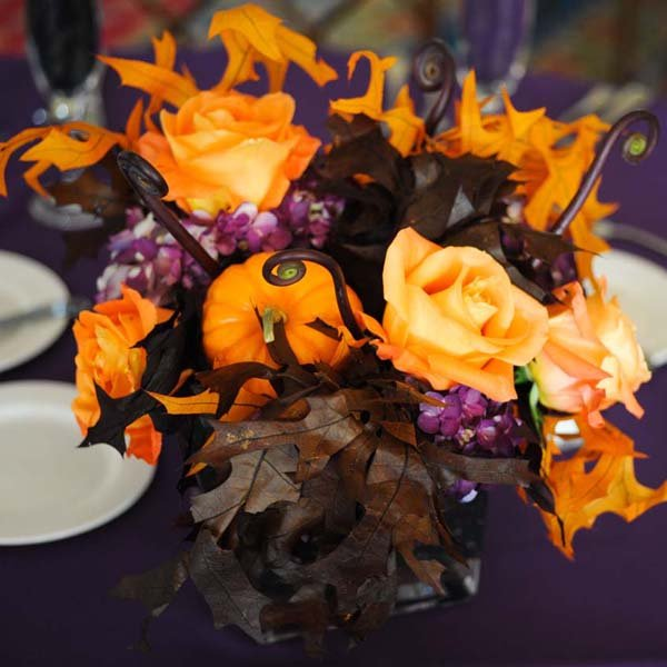 Orange, Brown, And Purple Centerpieces