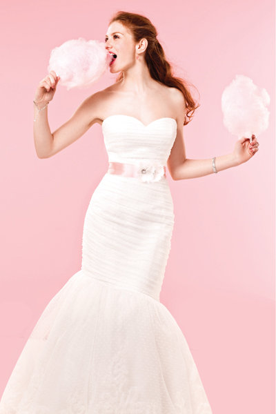 Our Favorite Pink Wedding Gowns and Accessories   BridalGuide
