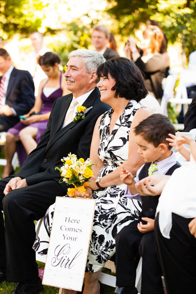 parents of the bride at wedding ceremony