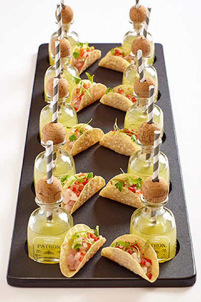 50 fun menu innovations for your reception bridalguide for Cheap wedding canape ideas