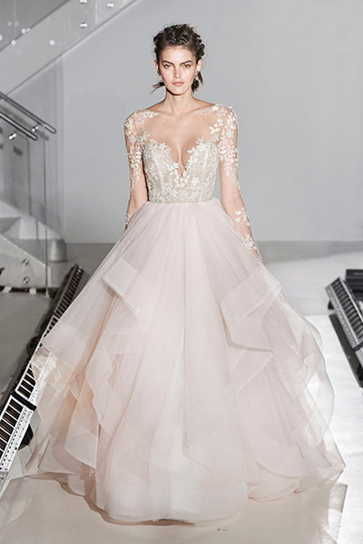 Take the plunge with these beautiful v neck dresses bridalguide hayley paige 161953 wedding gown junglespirit Gallery