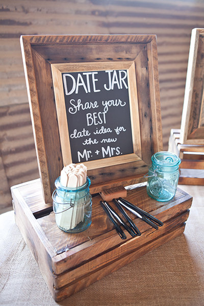 Date Night Jar for Rustic Wedding Reception Sign