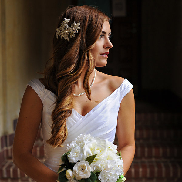 Curl With Head Piece Wedding Hairstyle