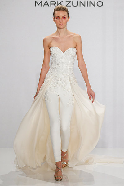 Wedding jumpsuit - Silk embroidered bodice and silk stretch-crepe pant with organza overskir
