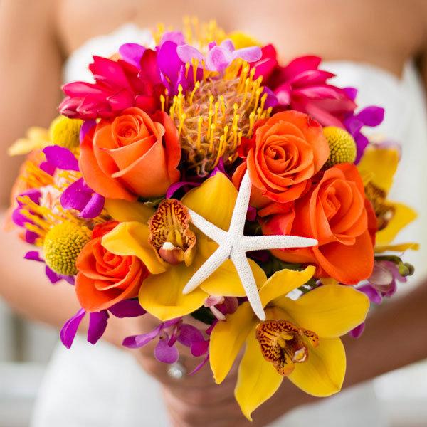 Summer wedding ideas bouquet with starfish minerva photography