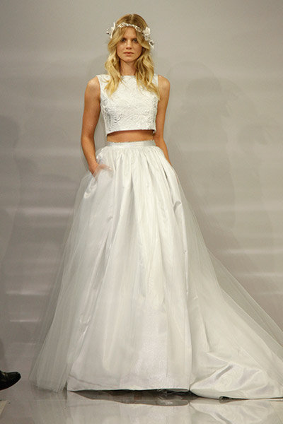 Daring bridal gowns crop tops cut outs bridalguide for Non wedding dresses for brides