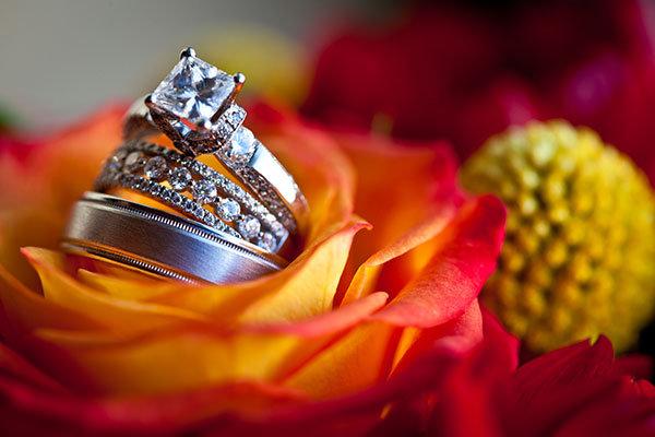 Three-Stone Engagement Ring & Wedding Bands