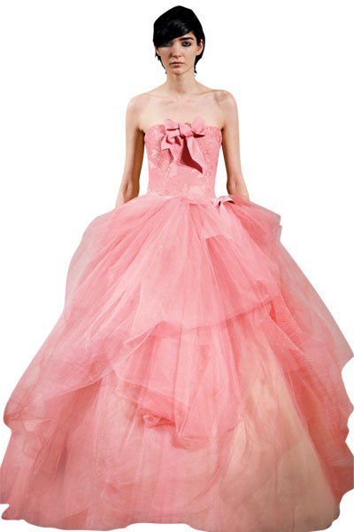 Vera wang pink wedding dresses simple white by vera wang for Pink vera wang wedding dresses