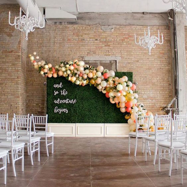 Pinterests hottest wedding trends for 2018 bridalguide balloons wedding ceremony backdrop junglespirit Gallery