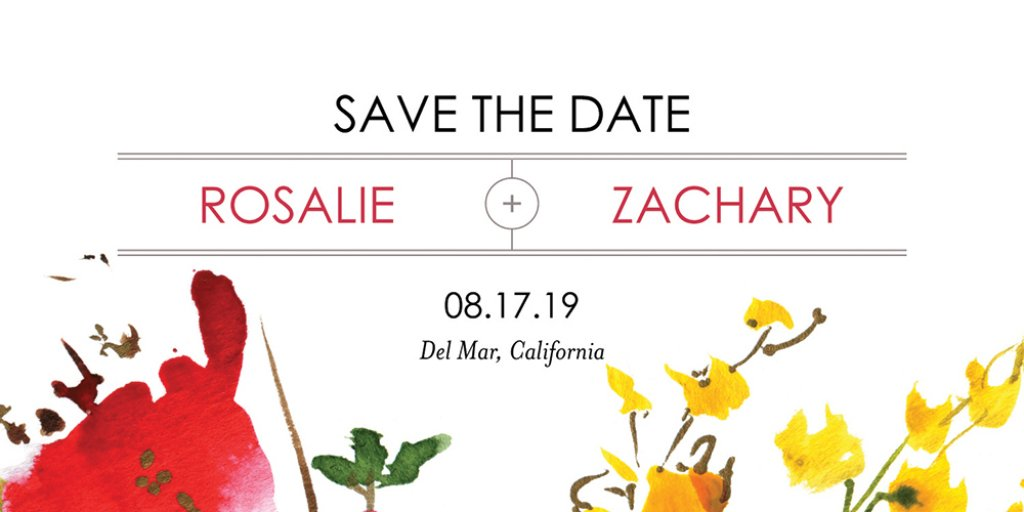 modern floral save the date
