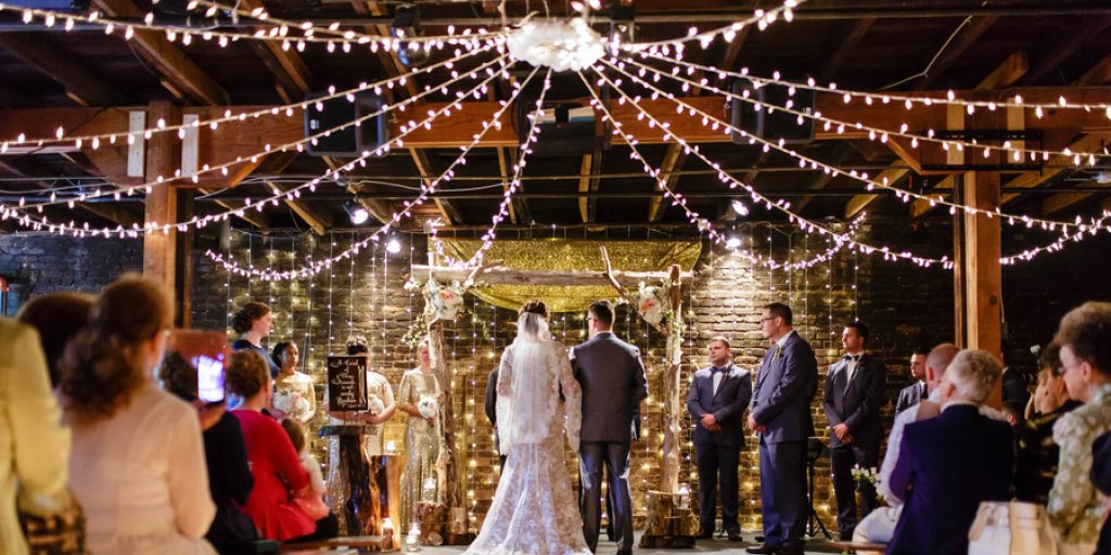 Wedding ceremony twinkling lights