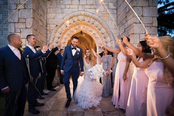 Wedding sendoff with sparklers