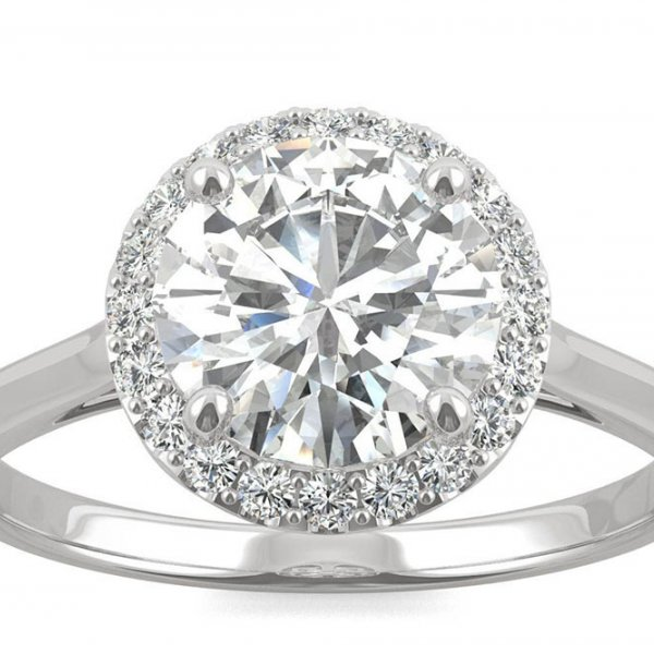 Moissanite Engagement Ring with Halo