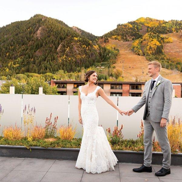 Bride and groom in Aspen Colorado