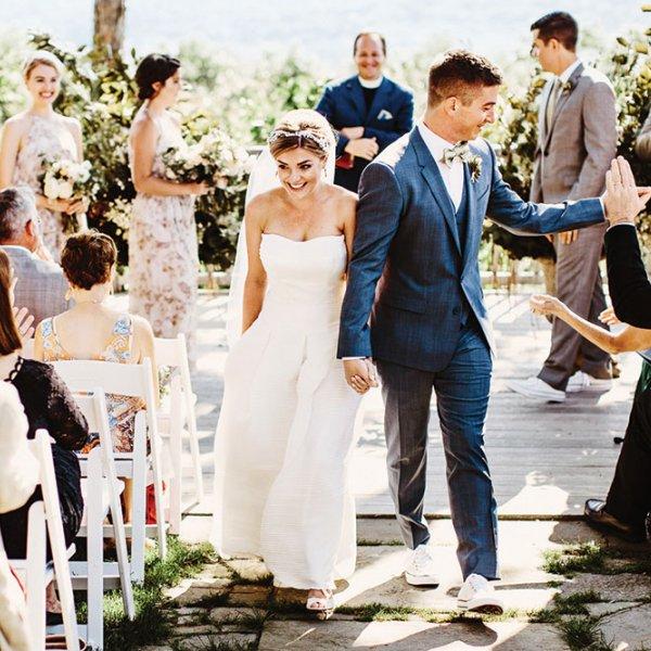 happy bride and groom wedding ceremony