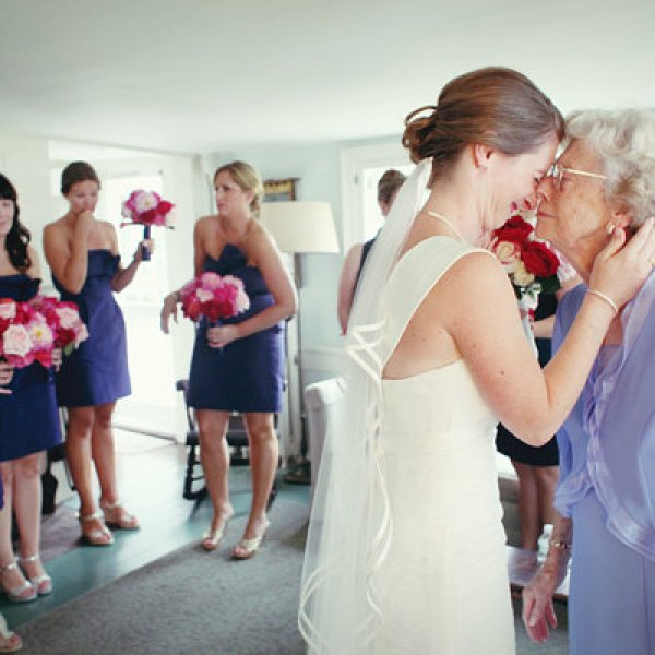 Bride and grandma before wedding
