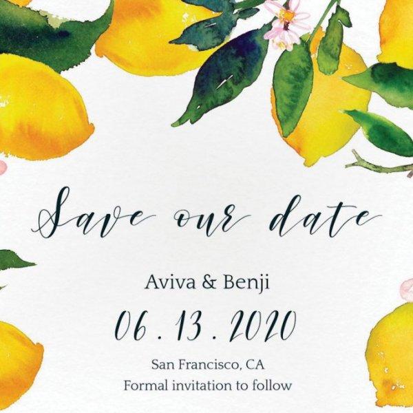 lemon save the date card