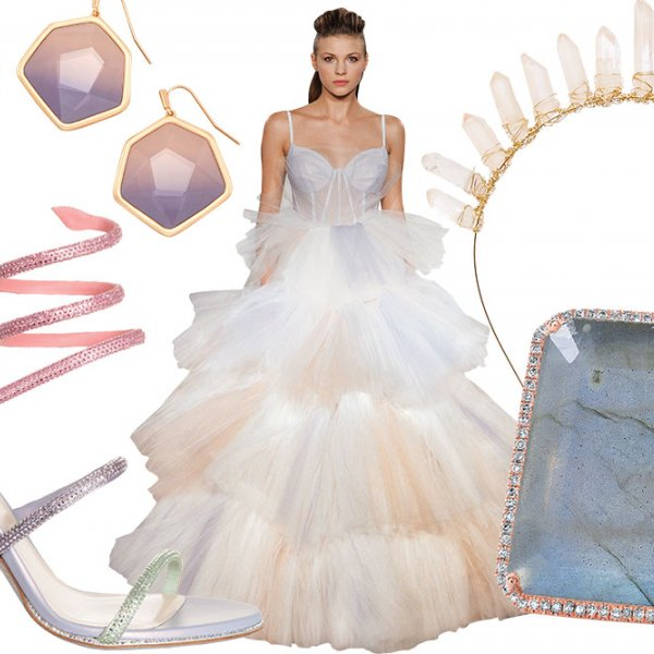 Watercolor wedding gowns and accessories