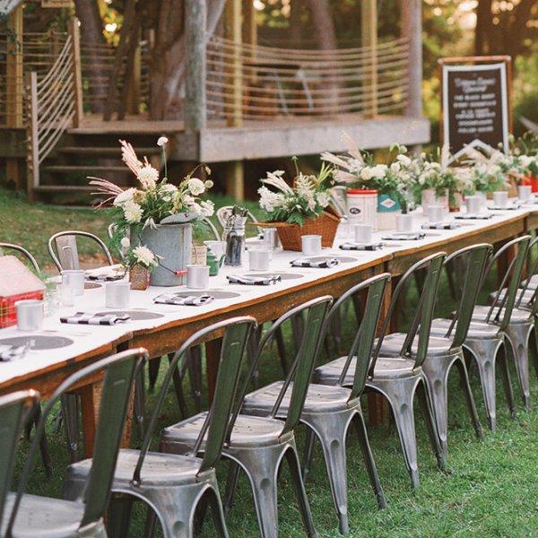 Rustic wedding reception table