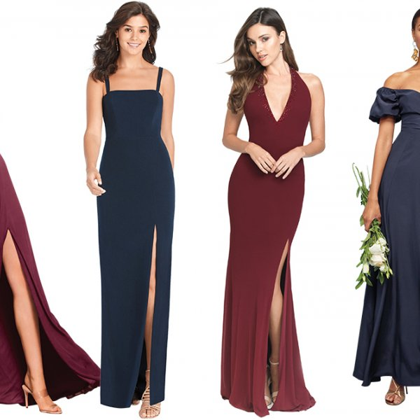 Wine and Midnight Bridesmaid Dresses
