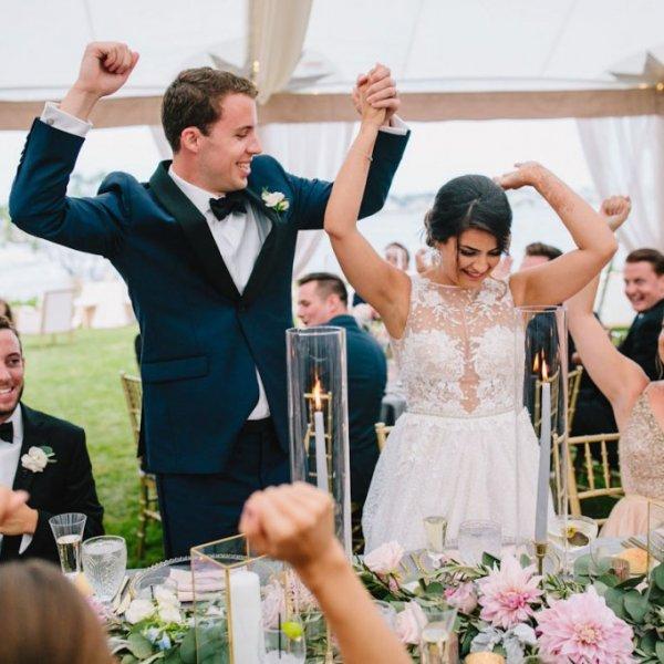 bride and groom wedding reception