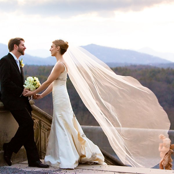bride and groom in Asheville NC