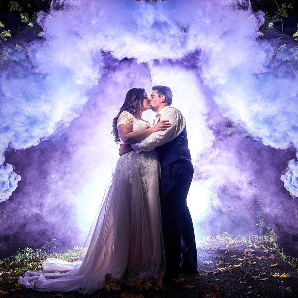 color bomb wedding photo