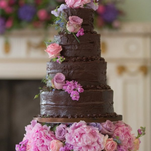 chocolate cake with fresh pink florals