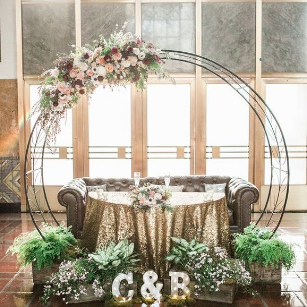 cozy and glam sweetheart table