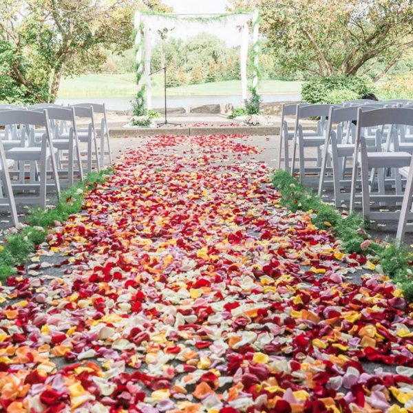 fall wedding ceremony aisle