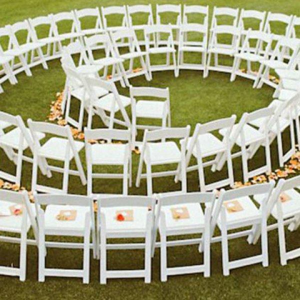 Spiral wedding ceremony seating