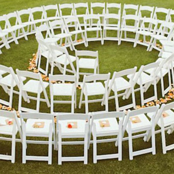 Spiral wedding ceremony seating