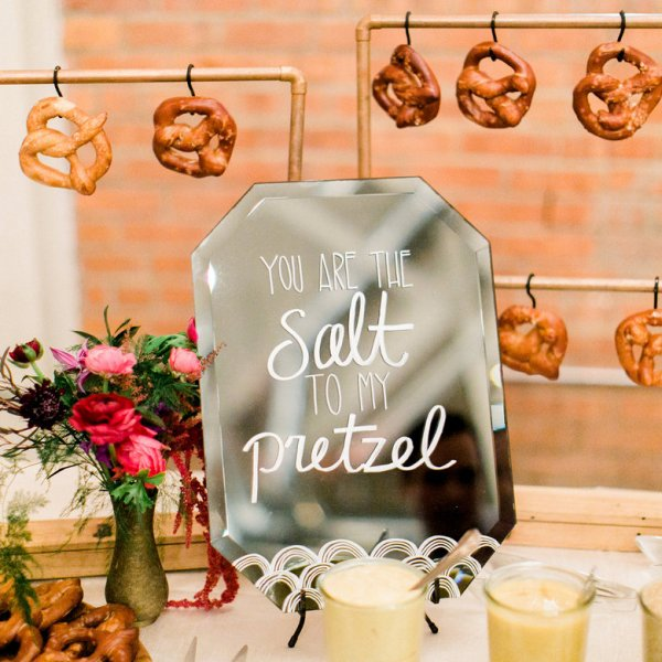 Soft pretzel station with cheese dip