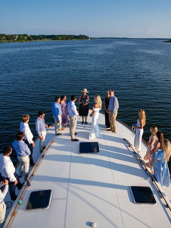 Intimate wedding on a boat Inn at Perry Cabin