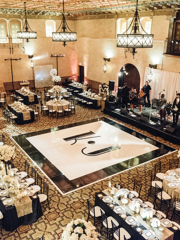 modern black and white wedding reception