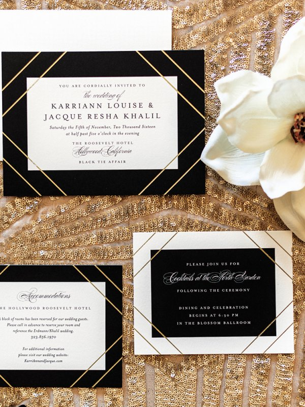 modern glam wedding invitations