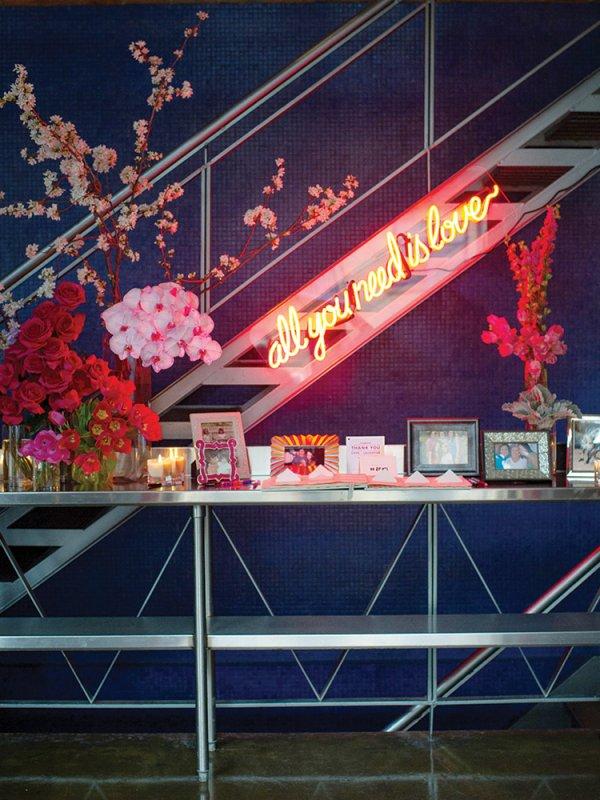 wedding reception entryway table