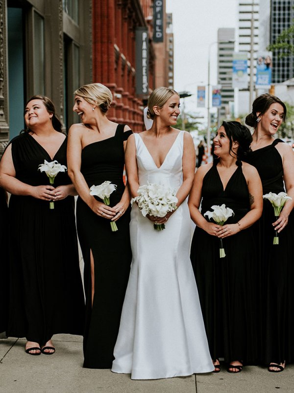 Bride with Bridal Party in Black Dresses