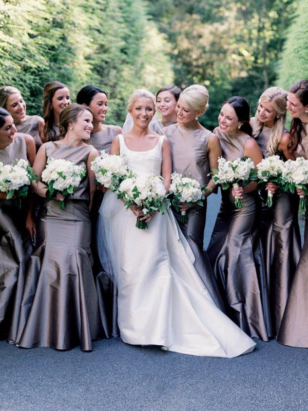 bridal party metallic mermaid gowns