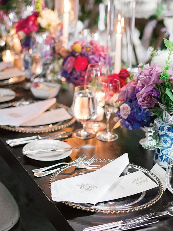 wedding reception table setting