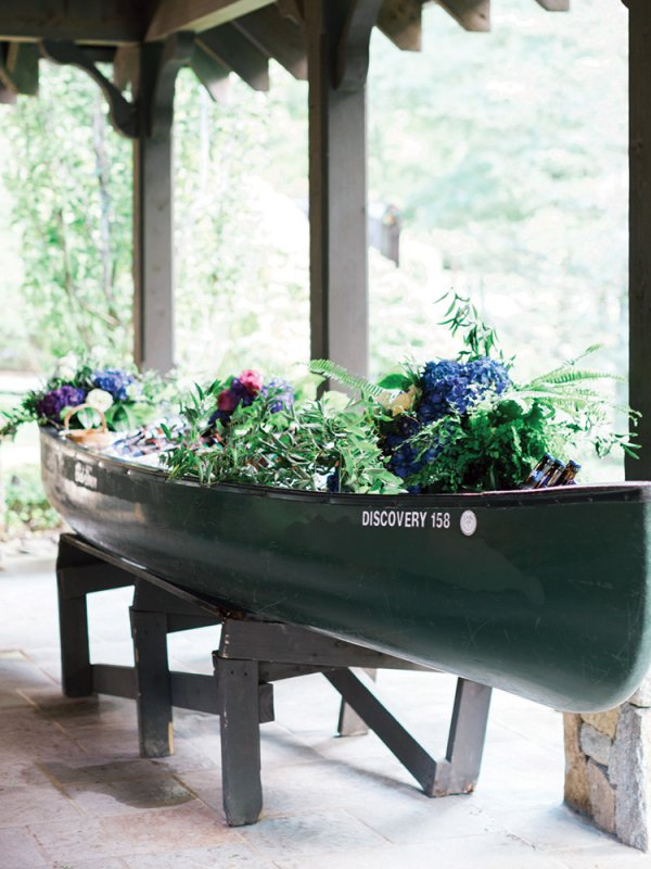 wedding flowers in canoe