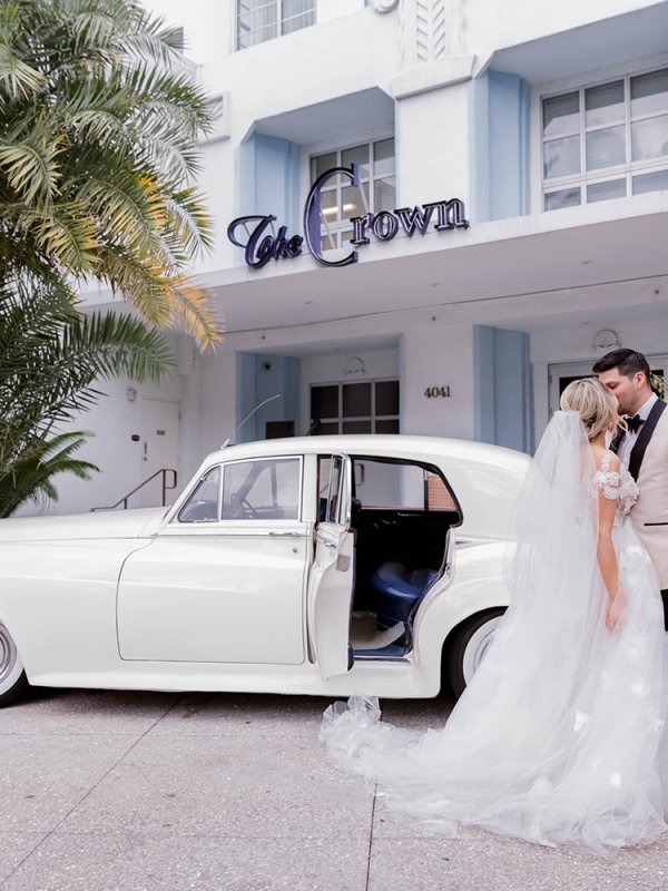Vintage car transportation for bride and groom