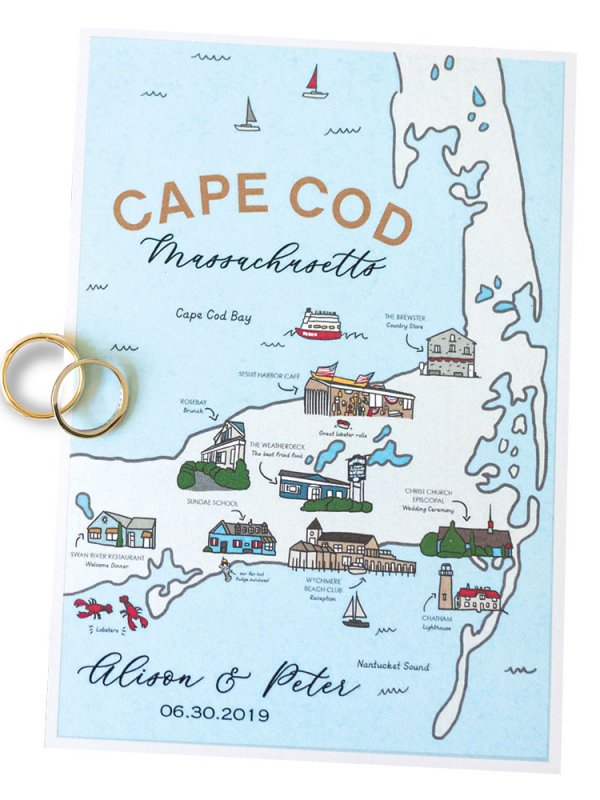 Cape Cod map wedding invitation