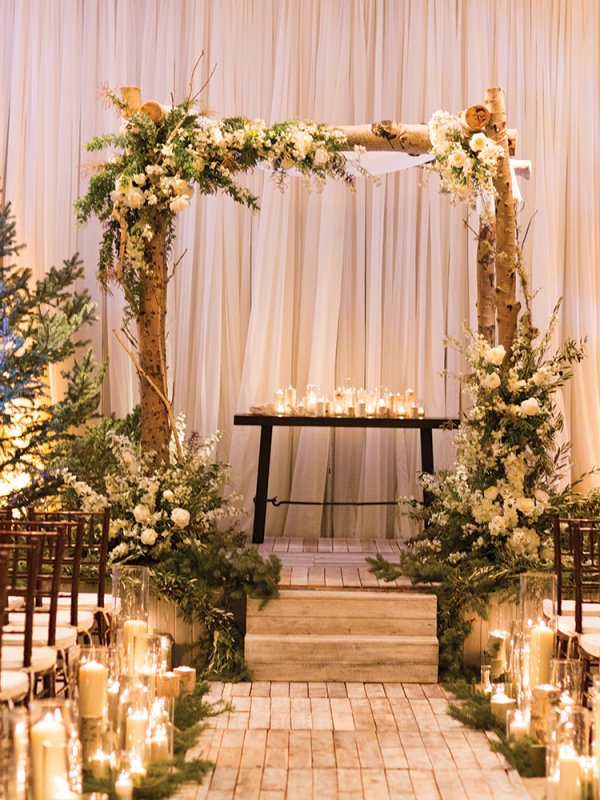rustic wedding ceremony chuppah