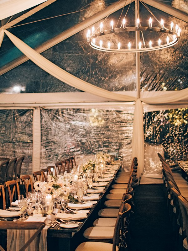 winter chic wedding reception