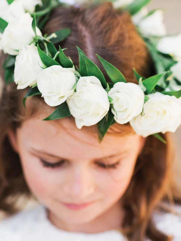 flower girl with floral wreath crown